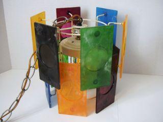 Vtg Swag Light Hanging Lamp Mod Colored Plastic Panels