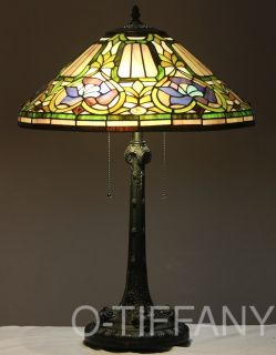 Tiffany Style Stained Glass Table Lamp Baroque w 18 Shade