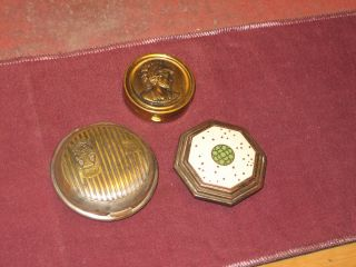 COMPACTS 1924 1950 ART DECO SILVERPLATE ENAMELED PILLBOX LANGLOIS NY