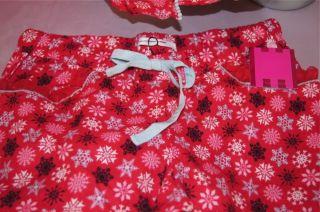 Large ❉victoria Secret The Dreamer Flannel Pajama Set Red Snowflake