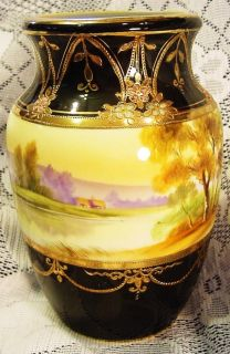 Nippon Vase Hand Pained rees Lake Hill Scene Black Gold Moriage