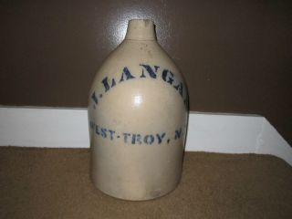 RARE! ANTIQUE STONEWARE CROCK J LANGAN WEST TROY NY 2 GALLON JUG SALT
