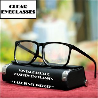 CLASSIC LARGE NEW FASHION EYEGLASSES SQUARE BLACK FRAME CLEAR LENS