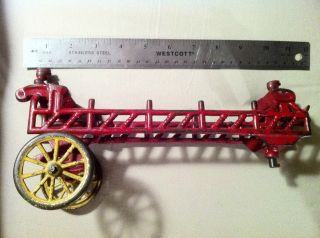 Antique Cast Iron Horse Drawn Fire Engine Truck Toy