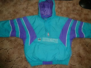 Vtg Charlotte Hornets Pullover Starter NBA Winter Jacket Sz Youth L