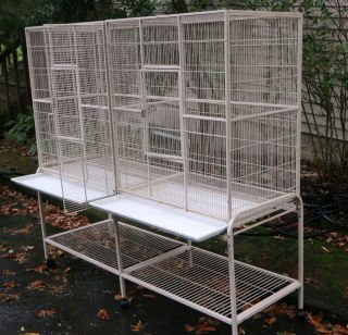 Extra large xtra long bird flight cages Excellent Cond Alabaster Color