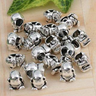 20P Tibetan Silver Orangutan Large Hole Beads Fit Charm