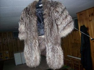 Silver Fox Fur Coat Real Fur by Landes Furs Exclusively Size L