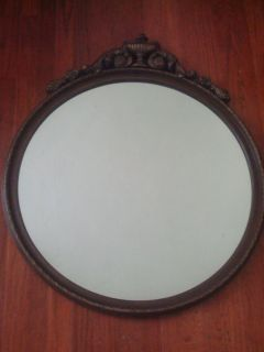 Antique Large Wood Round Wall Mirror