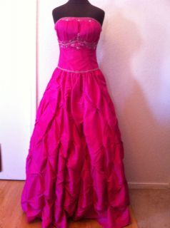 Strapless Lara Prom Dress style 2941 Hot Pink long princess style gown