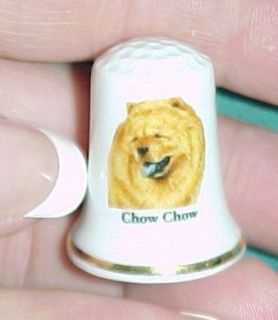 Vintage Chow Chow Dog Collectible Ceramic Thimble Figurine Lim Edition