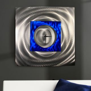 Large Blue Silver Modern Abstract Metal Wall Art Sculpture Water