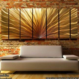 Large Metal Modern Abstract Wall Art Painting Golden Jon Allen