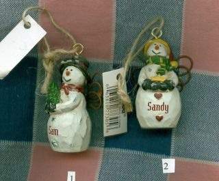 Christmas Snowman Ornament Personalized White Kir Miche