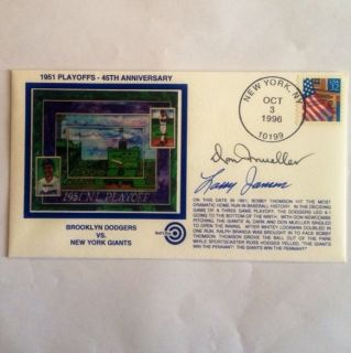 Don Mueller Larry Jansen Signed N Y Giants 1951 Playoffs Cachet