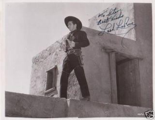 Autographed Lash LaRue in Classic Western Scene
