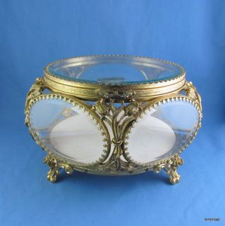 Vintage Globe Ormolu LARGE JEWELRY CASKET BOX Beveled Glass & 24K Gold