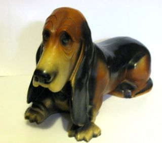 Vintage Large Union Products Plastic Basset Hound Dog Bank 16 in Long