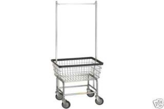 Laundry Cart w Basket Double Pole Rack Hang Clothes