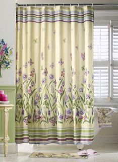 Purple Lavender Butterfly Fabric Bathroom Shower Curtain Curtains New