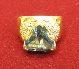 Laura Ramsey Edition Apple Cut London Blue Topaz Ring w Diamonds Size