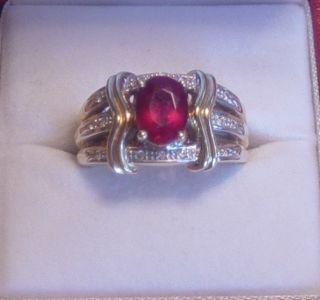 Laura Ramsey Rubilite & Diamond 14K Yellow Gold Ring Pretty Under