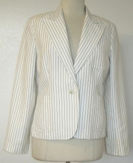 Lauren Ralph Lauren Cream w Gray Pinstripes Linen Cotton Blazer Size 8
