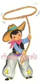 Vintage Cowboy with Lasso Decals Stickers or Clings
