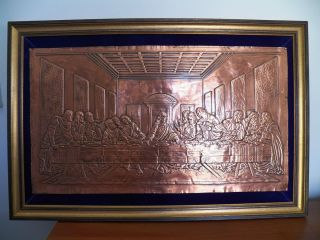 Vintage Copper Relief Framed Wall Art Hanging The Last Supper