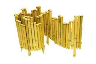 Decorative Bamboo Lawn Edging Roll w Stakes Garden Tidy Edge Border