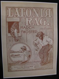 1903 Negro Black Americana Latonia Rag Horse Racing Poster Sign
