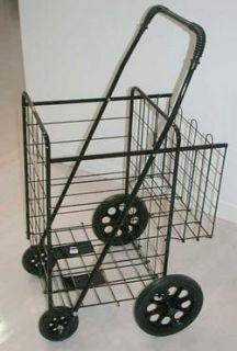 Folding Shopping Laundry Cart Double Basket Jumbo