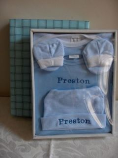 New Personalized 4pc Baby Layette Onesie Gift Set Blue