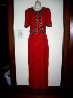 Laurence Kazar N Y Red Silk Sequins Beads Cocktail Dress 10