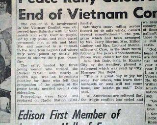 PARIS PEACE ACCORDS Vietnam War Ends w/ Russell KS Celebration 1973