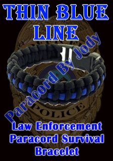 Line Police Officer Survival Paracord Bracelet Law Enforcement