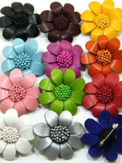 24 Pcs Lot Genuine Leather Flower Brooch Pin AAB1