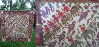 Handmade Applique Art Gujarati Cotton Tye Dye Quilt Throw