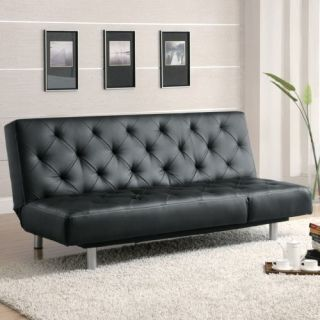 Black Sofa Bed Futon Couch Button Tufted Faux Leather Furniture