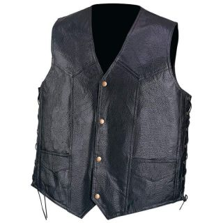 Mens Pebble Grain Black Leather Motorcycle Vest w Lace