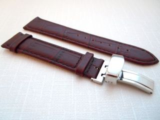 20mm Brown Leather Deployment Clasp Watch Band Strap Deployant