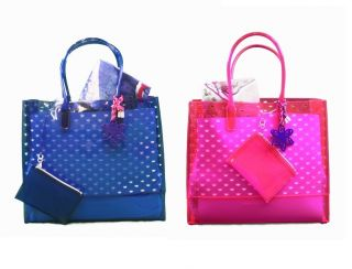 Blue Pink Beach Pool Party Leann Jelly Large Tote Bag w Towel