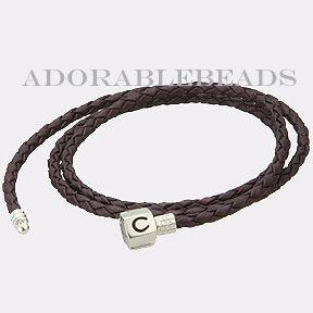 Authentic Chamilia Plum Braided Leather Wrap Bracelet 22 2