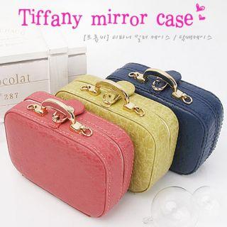 PU Leather Mirror Jewelry Box Cosmetic Cigarette Mini Bag Case Pouch