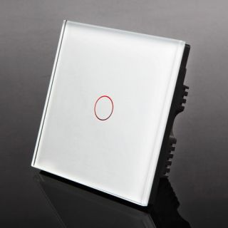 Modern Decorative LED Wall Touch Glass Light Switch 1 Gang