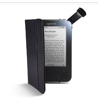 Black Leather Lighted Cover for Kindle 3 Kindle Keyboard