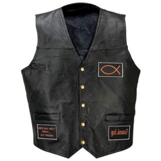 Leather Motorcycle Biker Vest Christian Patches Gfvloy