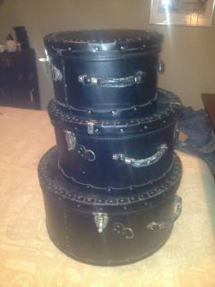 Leather Hat Boxes Set of 3