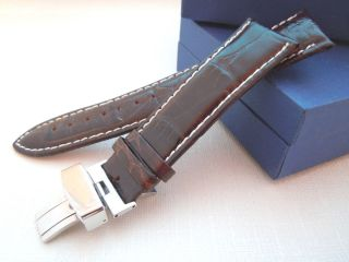 22mm Brown White Leather Deployment Clasp Watch Band Strap Deployant