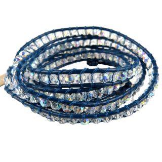 Chan Luu Swarovski Clear AB Crystal Blue Leather Wrap Bracelet